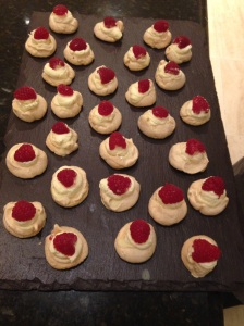Mini raspberry and white chocolate Pavlovas. Our client confessed to having six!