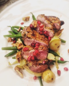 Duck breast with caramelised walnuts, grilled fennel and pomegranate